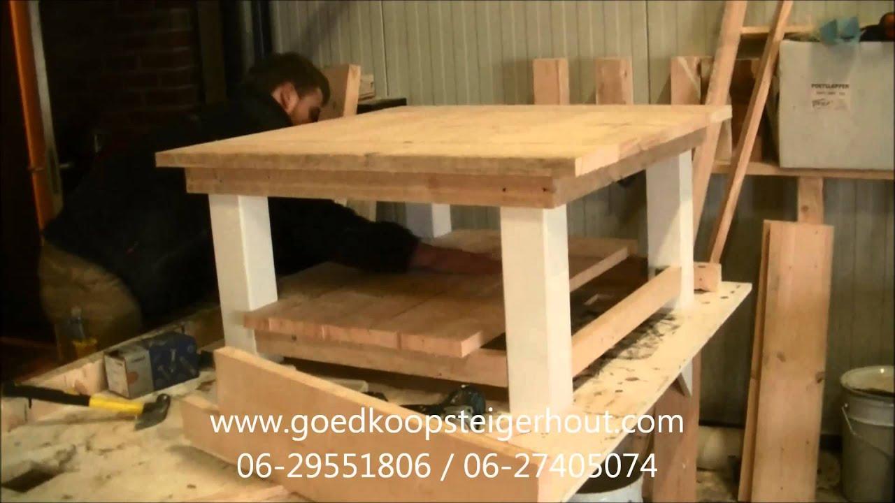 Salontafel maken van goedkoop steigerhout youtube Steigerhouten tafel met steigerbuizen zelf maken