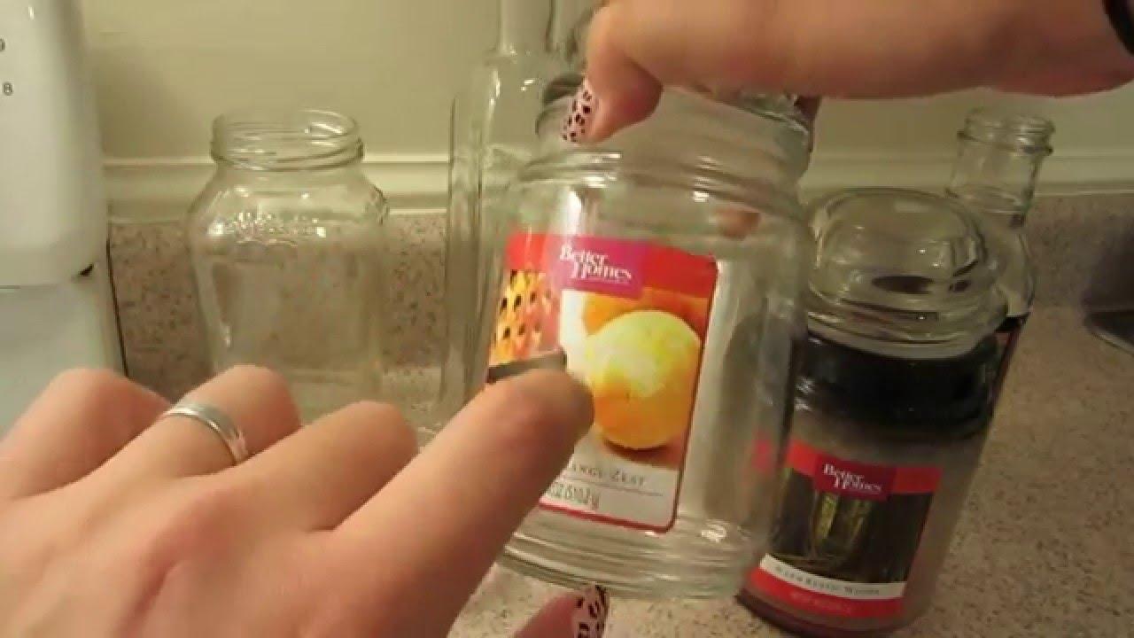 cmo quitar la etiqueta de los frascos de vidrio y cmo limpiar la cera de las velas youtube