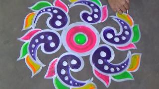 Easy rangoli designs with 7x4 dots //easy kolam designs with dots//easy muggulu designs with dots