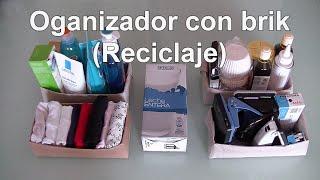 Organizador de escritorio, ropa interior, baño y cocina con brik de leche. Reciclaje y manualidades thumbnail