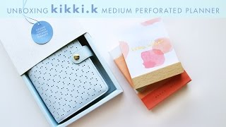 Unboxing Ice Blue Kikki K Medium Perforated Planner | DESIGN IS YAY