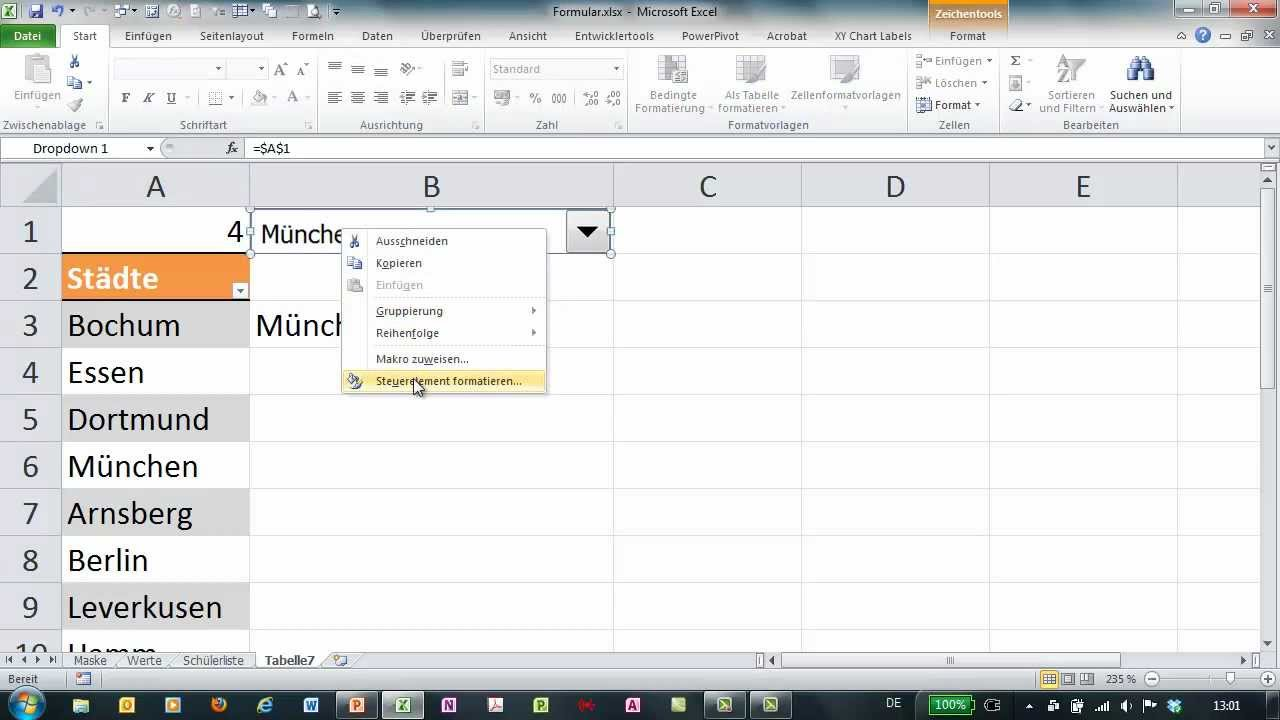 Excel Formulare Mit Dropdown Youtube