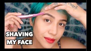 SHAVING my Facial Hair   Dermaplaning with Panasonic's Facial Trimmer   Jessica Godinez