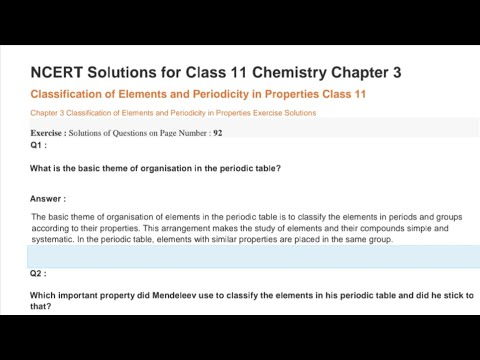 Chemistry Chapter-3 NCERT Solutions - YouTube