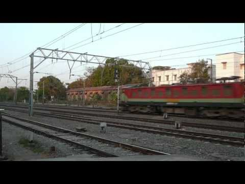 indiantrains@2 double decker trains action/santacruz station, mumbai, maharashtra, india