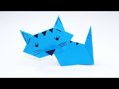 How to Make a Paper Cat - Cute and Easy Origami Cat for Kids - DIY Paper Cat