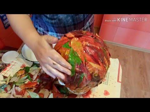 Ваза из листьев своими руками на тему осень для букета из листьев
