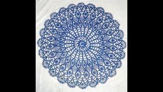 Салфетка крючком 15 часть (53 - 55 ряды). Процесс вязания. Doily