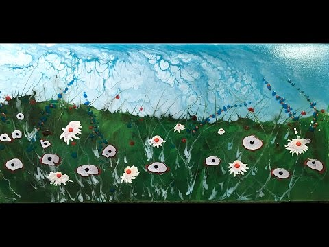 Summer Wildflower Meadow Big Cloudy Cells Sky Fluid Acrylic Pour Technique 2 Dirty Flip Cups