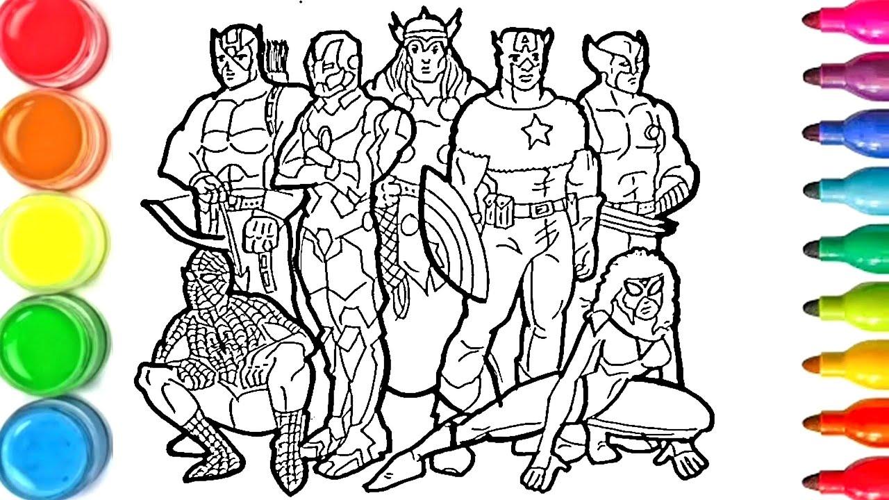 Dessin Et Coloriage Super Heros Marvel Dc Comics Draw And Color For Kids Tt126 Youtube