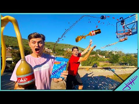 COKE And MENTOS Basketball TRICK SHOT Challenge! Ft. Carter Sharer