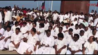 DMK MLAs protest at Marina beach Gandhi Statue after being evicted from TN Assembly