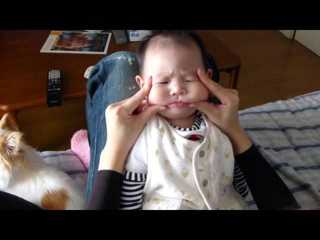 彩良 赤ちゃんマジでキレる!怒!(世界一かわいい仏頂面) angrily Baby!!!生後3ヶ月