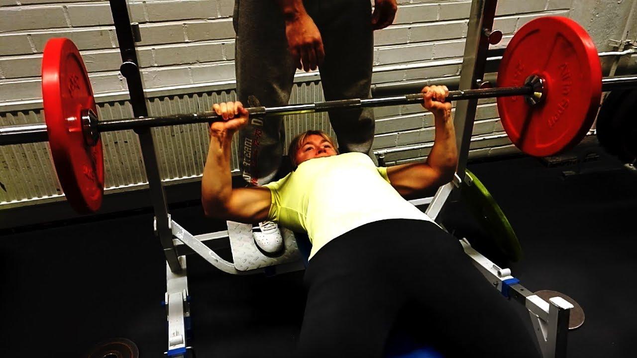 bench press workout 82 5 kg 182 lbs x 2 female youtube. Black Bedroom Furniture Sets. Home Design Ideas