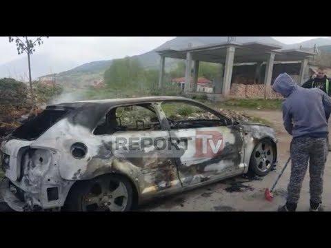 Report TV - Korçë, grabisin makinën e emigrantit, e mbushin me kashtë dhe e djegin