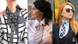 Женские галстуки 2018 фото Самые модные модели! Как завязать, с чем носить?