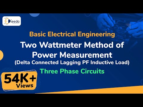 Two Wattmeter Method for Power Measurements ( Delta- Connected Lagging PF Inductive Load)