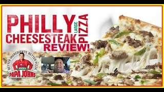 Papa John's® New Philly Cheesesteak Pizza Review!