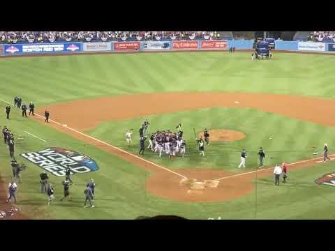 Boston Red Sox celebrate 2018 World Series title at Dodger Stadium, Oct. 28, 2018