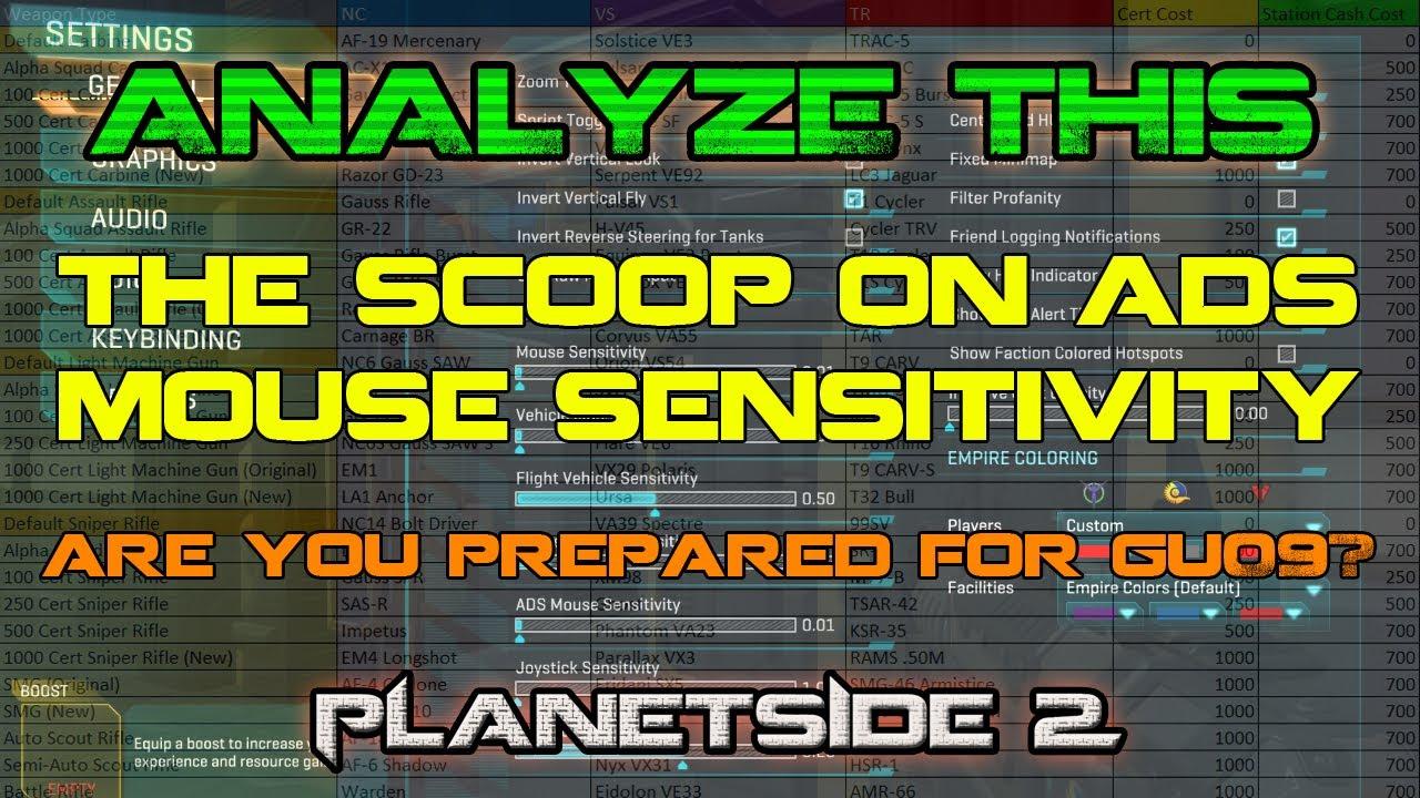 Question about mouse sensitivity (hip fire & ADS) | PlanetSide 2 Forums