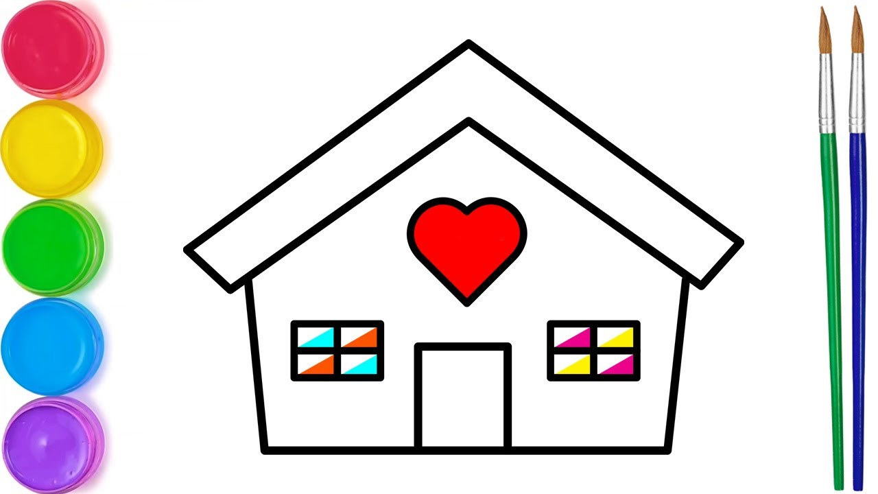 Download How to Draw HOUSE   Easy Art Tutorial for Beginners   House Drawing and Coloring