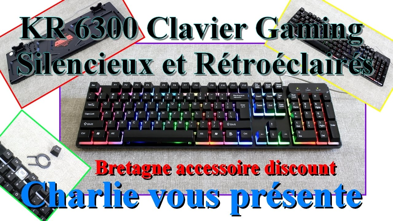 kr 6300 un clavier gaming le plus silencieux avec r tro clairage bretagne accessoire youtube. Black Bedroom Furniture Sets. Home Design Ideas