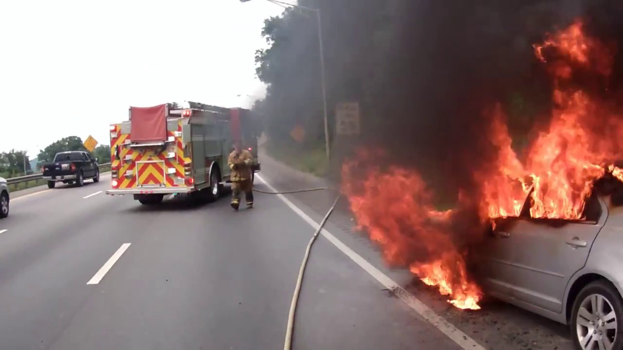 Fully Involved Car Fire on Interstate