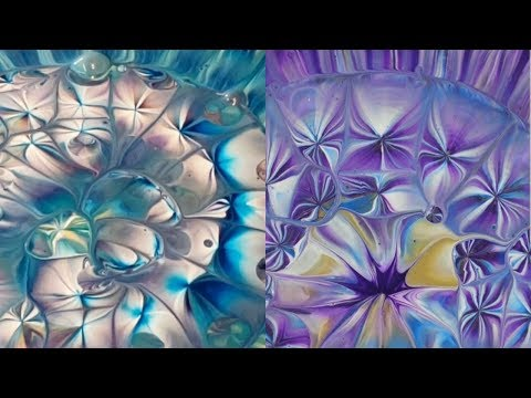 (135) Acrylic pouring collaboration with heather Mader art! Kaleidoscope colander pour! Flow art