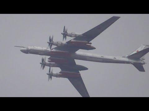 Полёты стратегического бомбардировщика-ракетоносца ТУ-95МС над Жуковским