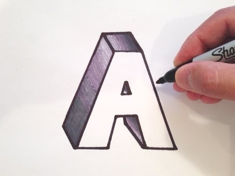 how to draw letters in 3d how to draw the letter a in 3d 24778