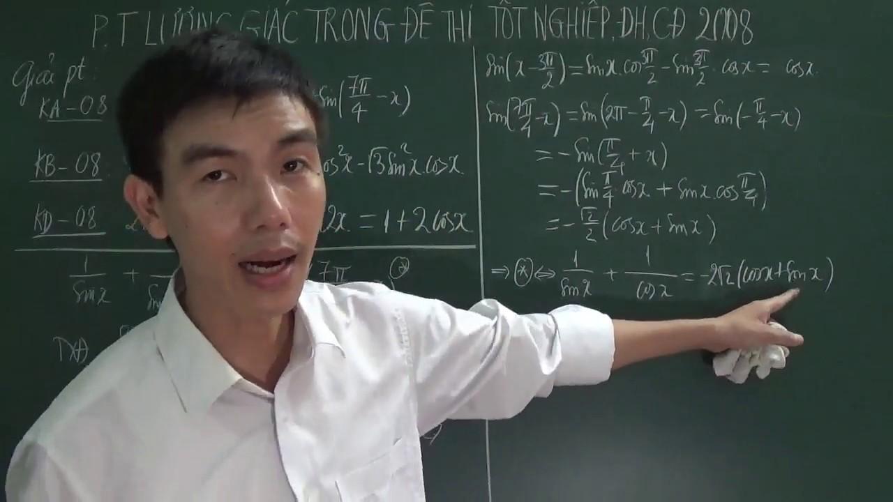 [Toán 11] – Phương trình lượng giác trong đề thi Đại học môn Toán khối A, B, D năm 2008