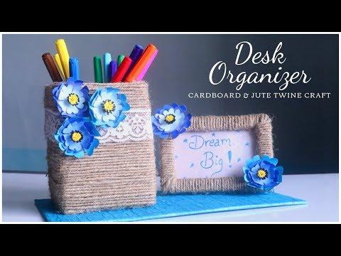 DIY Desk Organizer | Pen Stand with Photo Frame | Cardboard Craft Idea