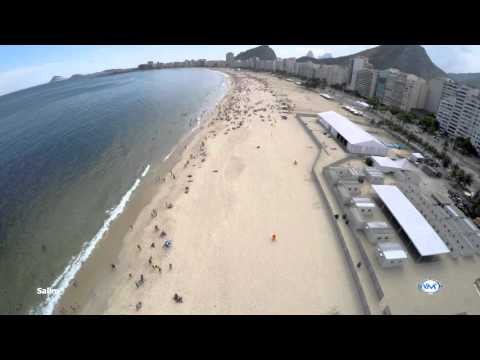 La espectacular playa de Copacabana en Río de Janeiro, Brasil.