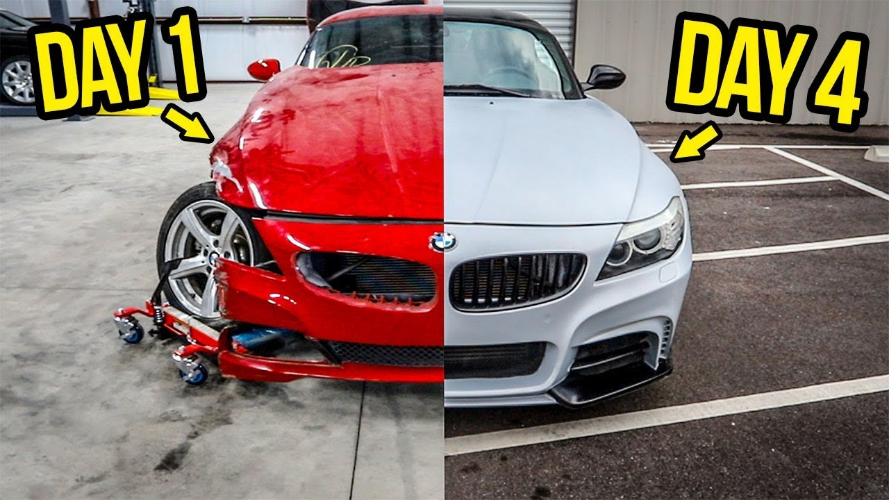Rebuilding (And Modifying) A DESTROYED BMW Sports Car In 4 Days