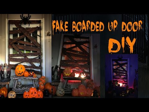 Fake Boarded up Door faux foam wood DIY Halloween