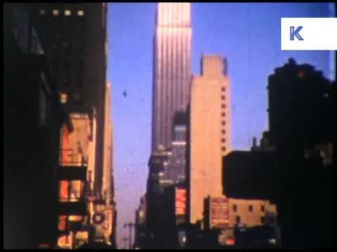 1950s New York, Evening, Times Square, Broadway, Home Movie Footage