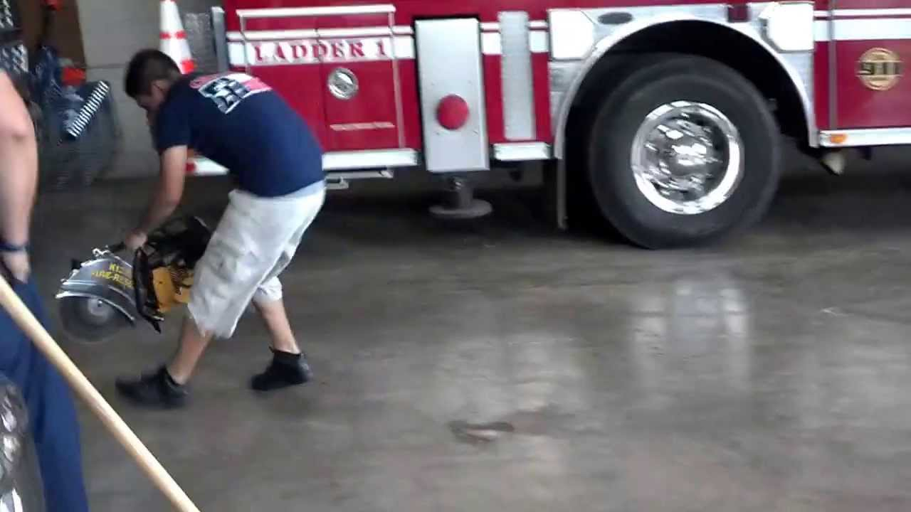 rookie firefighter trying to push start the k12 circular saw youtube