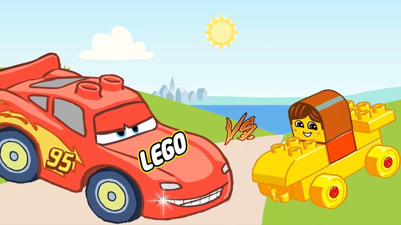 Storytime For Kids Cartoon Lego Disney Cars Lightning Mcqueen Vs Francesco Bernoulli Final Race