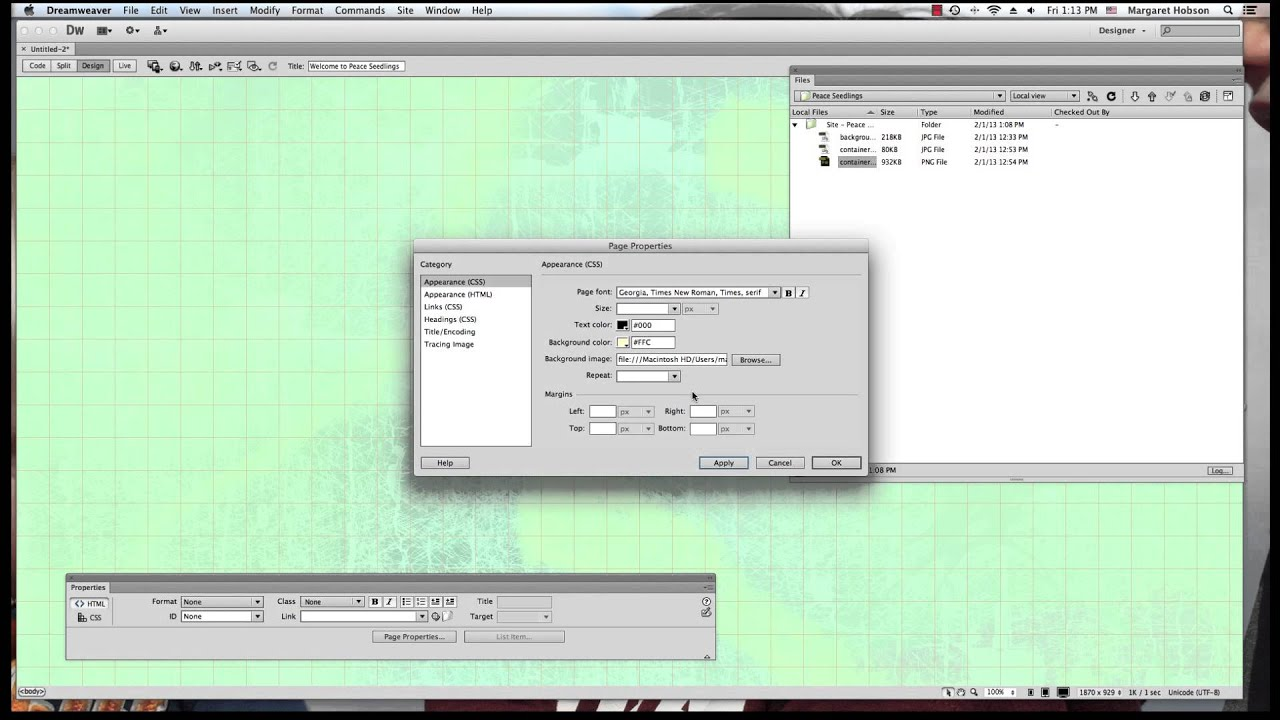 Background image dreamweaver - Adding A Background To Our Website In Dreamweaver Cs6