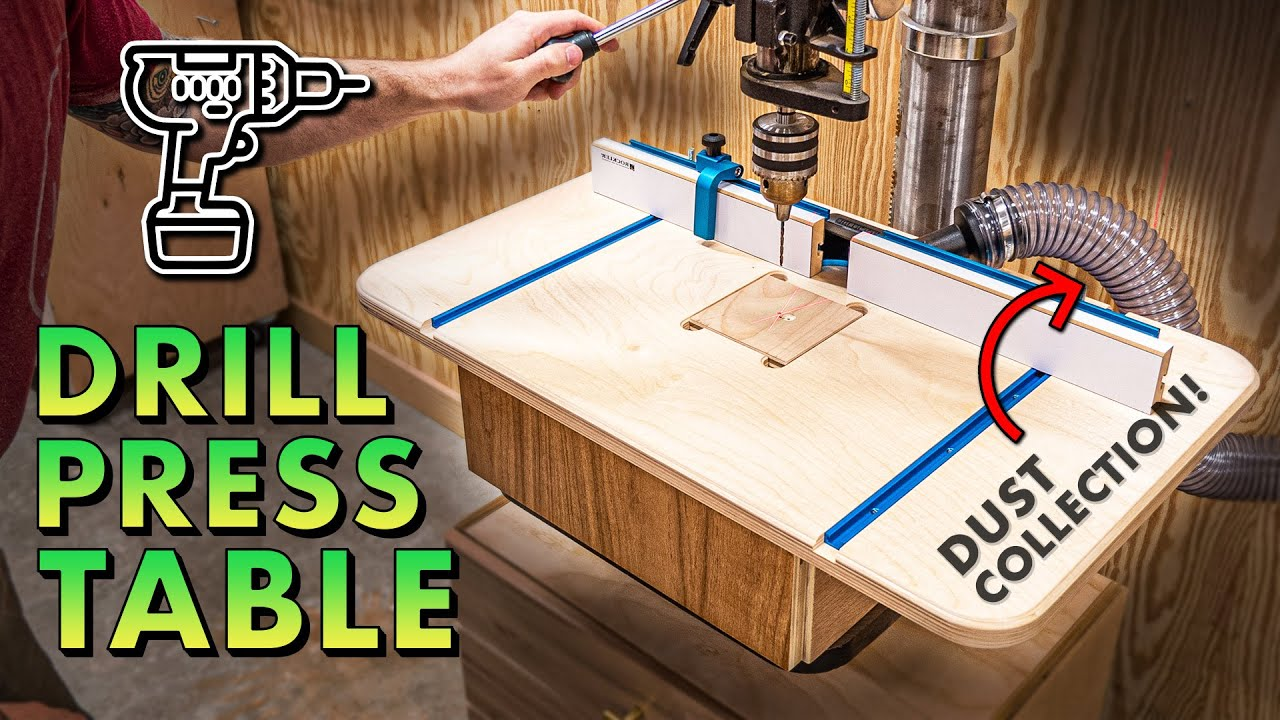 How to make a DRILL PRESS TABLE w/ DUST COLLECTION and FENCE