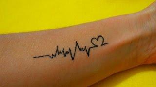 Временное Тату в домашних условиях линия пульса #51/ A temporary Tattoo at home line pulse