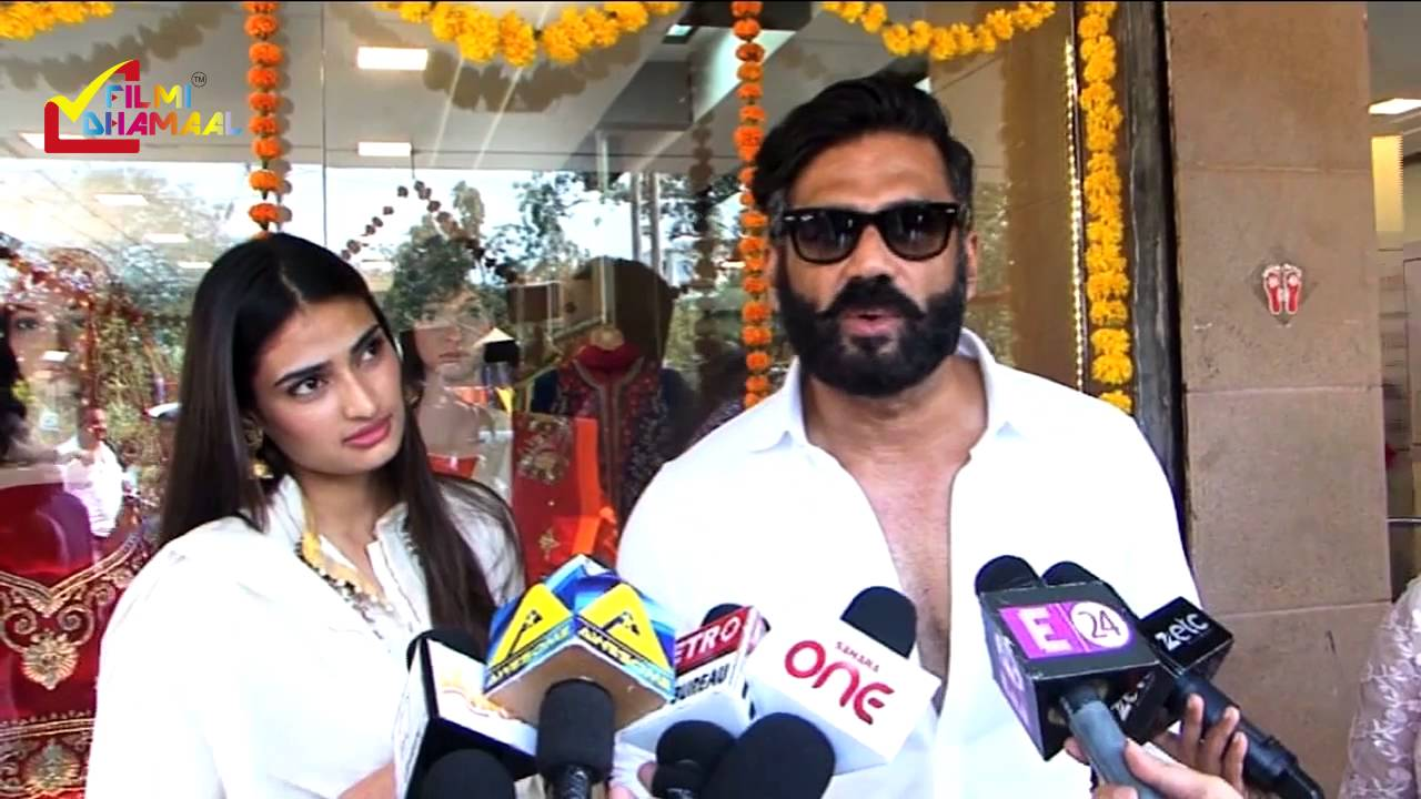 Athiya Shetty With Father Sunil Shetty At An Art ...