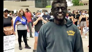 Racist devil shows up in blackface to George Floyd protest and  gets arrested