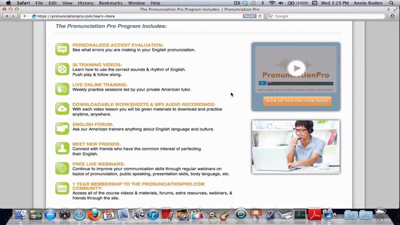 How to sign up for a free week of English Pronunciation Training