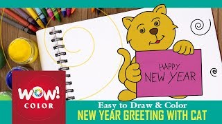 2018 happy new year greeting with pussy cat - How to draw easy and cute for kids