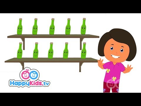 Ten Green Bottles Hanging On The Wall - Song With Lyrics - Nursery Rhymes For Kids And Children