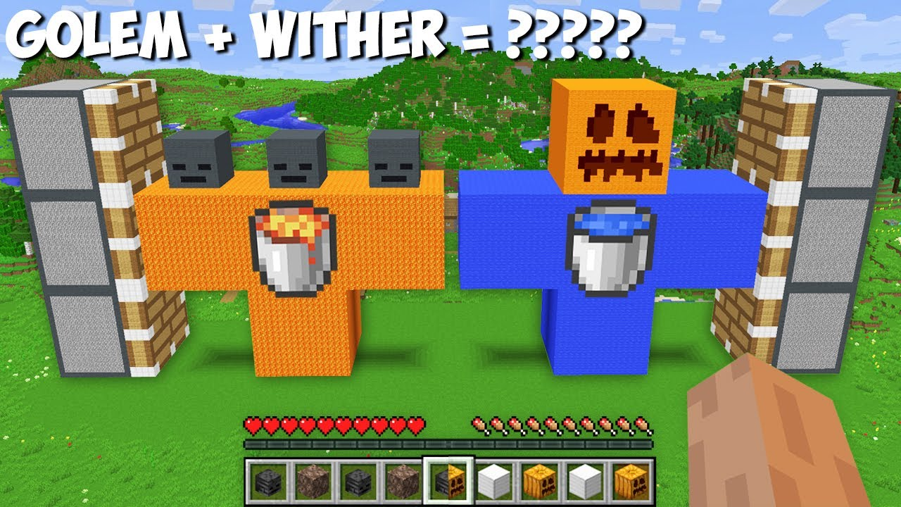 I can COMBINE BIGGEST WATER GOLEM and LAVA WITHER OF 1000 BLOCKS in Minecraft ! LAVA vs WATER !