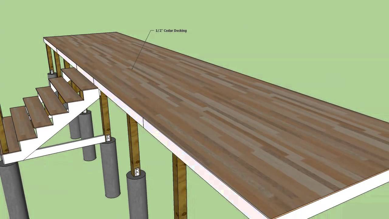 Sketchup timber framed deck construction youtube for Timber deck construction