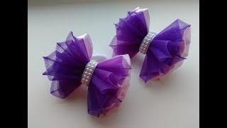 Красивые бантики из атласа и органзы МК Канзаши / Beautiful bows of satin and organza