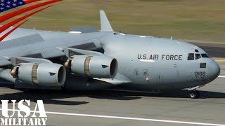 着陸時に逆噴射全開しすぎてバックする大型輸送機C-17 - C-17 Globemaster III Reverse Thrust - Short Field Landing